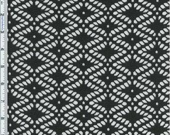 Black Diamond Motif Novelty Knit, Fabric By The Yard