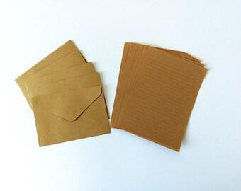 Kraft Envelope Writing Set, Thank you Letter Kit, Letter Writing Kit - Set of 5