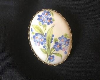 """Vintage Blue Violets Porcelain Brooch, Blue Flowers Porcelain Brooch Pin 1.25"""" x 1.75"""""""