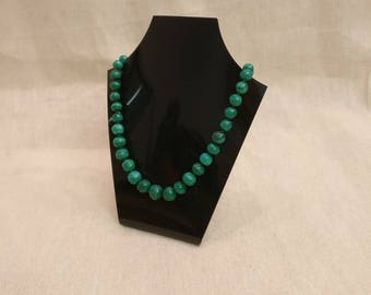 "Vintage Malachite necklace, 20"" long, crystal beads"