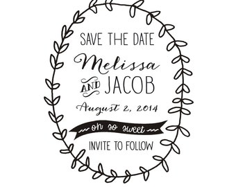Whimsical Wreath Save the Date Stamp