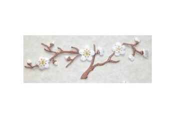 Cherry Blossom - Quince - Flower - Spring - Embroidered Iron On Patch - White