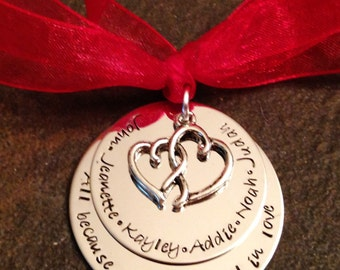 SALE All because two people fell in love christmas ornament personalized christmas ornament with heart charm