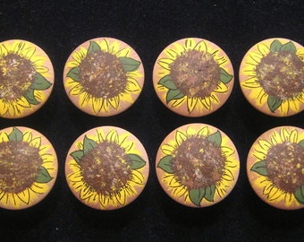 Set of 8 - SUNFLOWERS Handpainted on Plain Wooden Drawer Knobs/Pulls - Great for Little Girl's Room, Nursery, Kitchen or Office