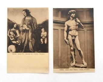 Vintage Antique Florence Firenze Postcards, Set of 2, David by Michelangelo, Sephia brown Italy Museum Art Postcards