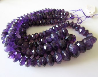 5 Strands Wholesale - Amethyst Faceted Rondelles - 8 - 14 mm, 16 Inch Strand - Gemstone Beads - GDS 125