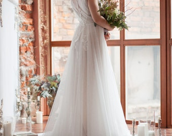 Wedding dress TESSA / Light vintage wedding dress, two piece dress, boho wedding dress, tulle wedding dress, closed back wedding gown