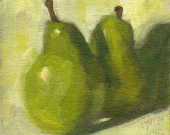 Small oil painting of pears by Marlene Lee