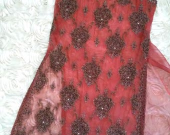 Vintage Mid Century Indian Silk Intricate Ornate Wire Beaded Rhinestone Embellished Over Dress / Long Blouse Size Xs/S