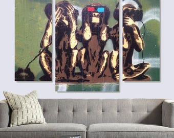 Three Monkeys on Canvas, Funny Monkeys Art style, Street Art on Canvas, Graffiti Wall Art