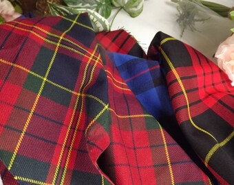 Tartan , Vintage Scottish Tartan Material .. 3 Offcuts , .Patchwork, Sewing etc