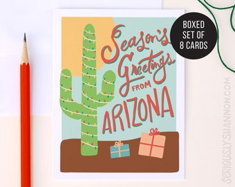 "Arizona Holiday Card, ""Season's Greetings"" Boxed Set of A2 Greeting Cards"