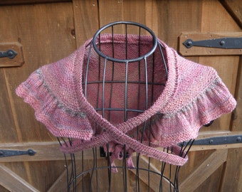 Girls Hand Knitted Tie-on Shawl, Wool Shawl for Little Girls, Ruffled All Wool Shawl With Ties for Little Girls