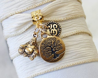 Hand Dyed Silk Ribbon Wrap Bracelet Cream Gold Tree of Life, Om, Ohm, Buddha Yoga Jewelry