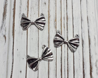 Bow Charm, Bowknot, Bow Tie, Silver Bow Tie, Alloy Pendant, Overstock, DIY, Jewellery Supply, Bowknot, Nickel Free - 10 PCS