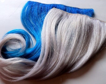 18 Inch Custom Dyed Clip or Tape in 100% Human Hair Extensions Blue and Silver White Grey