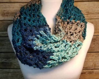 Handmade crochet infinity scarf, Blue scarf, Turquoise scarf, Striped scarf, Crochet scarf, Infinity scarf,  Handmade scarf, Bulky scarf