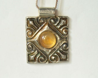 Fine Silver Pendant Necklace - Golden Peach Natural Moonstone in Handmade Pendant