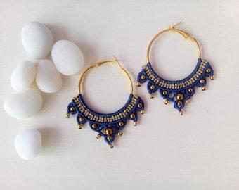 Hoop macrame earrings, bohemian jewelry, gypsy earrings, gypsy style, gift for her