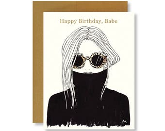 Birthday Card / Happy Birthday Card / Best Friend Birthday Card / Fashion Illustration Card / Fashion Girl Card/ Birthday Card Her /Coworker