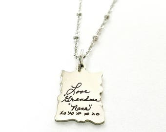 Memorial Necklace - Hand Writing Necklace - Handwriting Jewelry - Memorial Jewelry - Signature Necklace - Signature Jewelry - Keepsake Charm