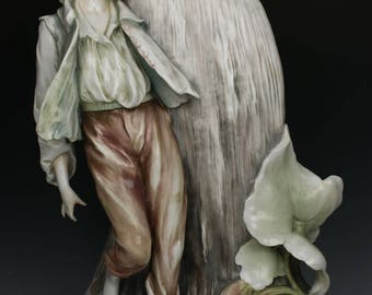 "19C large 18"" art nouveau Dresden Volkstedt Vase with Boy"