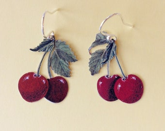 Cherry recycled tin earrings