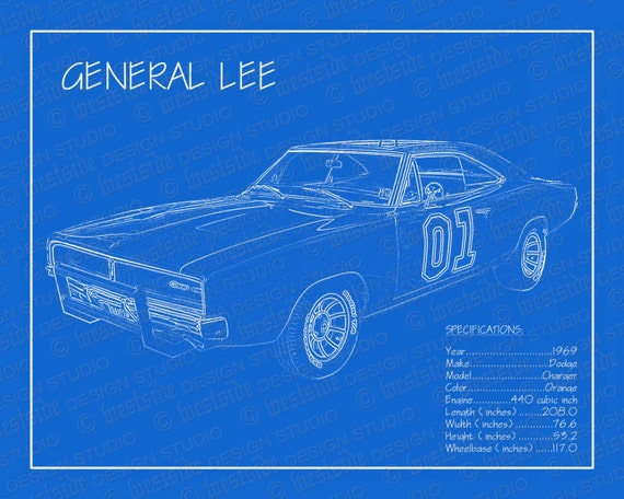 Good 1969 Dodge Charger General Lee Blueprint 8x10