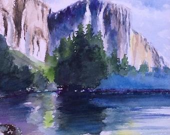 Matted Yosemite National Park California Original Watercolor Painting ,California Landscape Painting , Landscape Painting ,Gift ,Handmade ,L
