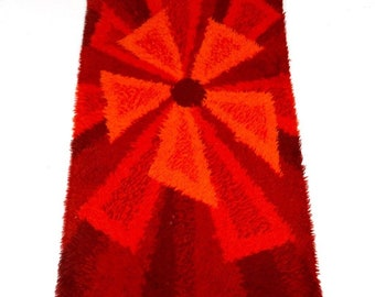 70s mid century original vintage 100% wool carpet pop art abstract art 60s shag rug danish modern