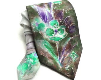 Hand Painted Silk Tie. Floral Tie. Man Handmade Grooms Wedding Tie. Anniversary Birthday Gift for Him. Unique Handmade Tie. MADE to ORDER
