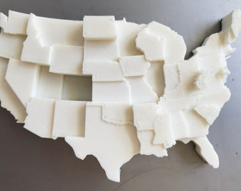 3D Printed Map | Infographic Fridge Magnet | Obesity Data Visualization