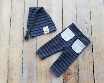 RTS - Newborn Stripe Upcycle Pants Set Baby Boy Hat Photo Prop Navy Blue - Ready to Ship