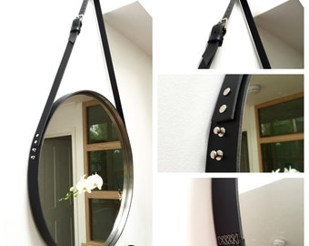 """PREORDER NOBI - BLACK Strapped 24"""" Mirror Adnet Jamie Young Style Captain's Mirror Hanging Gobi Round leather hanging bathroom entry mirror"""