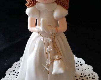 Boy First Communion, Baptism Cake Topper, Communion Favors, Communion Cake Topper, Holly First Communion, Baptism Cake Decoration