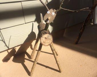 Wooden reindeer-Log Reindeer- wood reindeer - Christmas reindeer - rustic log reindeer-wood reindeer-wood deer