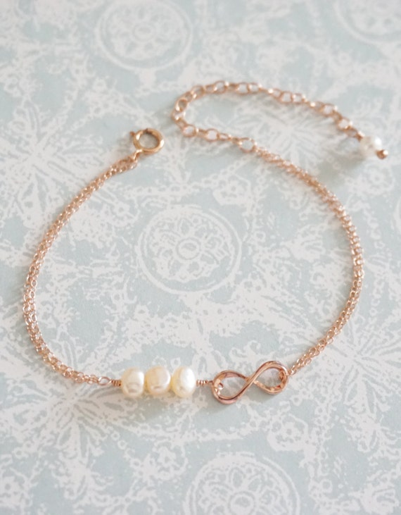 Simple Freshwater Pearls and Mini Infinity on Rose Gold FILLED Double Strand bracelet - Nautical pink shade beach weddings bridesmaid gifts