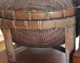 "Vintgae Basket- Boho Style 12"" x 8"" Storage Basket- Sewing Basket- Craft Basket"