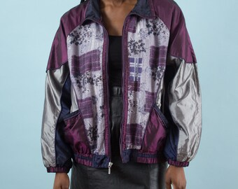 90s Windbreaker, Vintage Windbreaker, 80s Windbreaker, Spring Jacket, Sport Jacket, Floral Jacket, Sportswear, Nylon Jacket, Retro, Purple