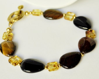 Brown Bracelet Agate Multi colored Handmade Jewelry Beaded Bracelet with Gold and Citrine