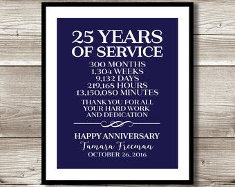 25 Year Work Anniversary Print; gift; digital print; customizable; thank you gift; years of service; retirement; employee recognition