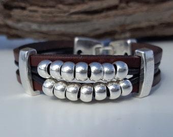beaded, Boho leather Bracelet
