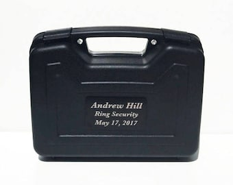 Ring Bearer Briefcase, Ring Bearer Case, Ring Security, Ring Bearer Gift, Wedding, Engraved Gift, Black Plate