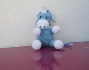 Unicorn crocheted blue and white wool