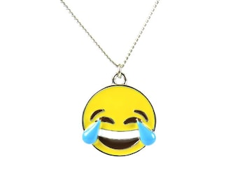 Laughing With Tears Enamel Emote Face Charm Necklace