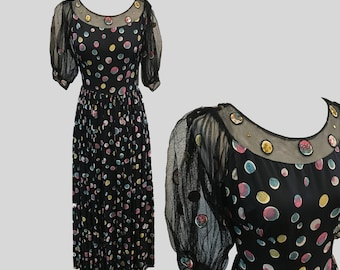 1930s-1940s Emma Domb Party Lines Polka Dot Appliqué and Sequined Tulle and Rayon Gown
