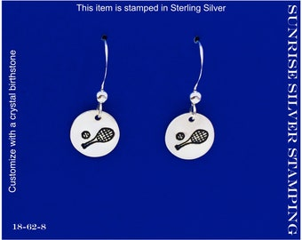 Tennis Earrings, Sterling Silver, Tennis Jewelry, Tennis Racket Racquet and Tennis Ball, Sports Jewelry, Tennis Lover Gift,