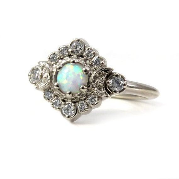 Lab Opal Moon Halo Engagement Ring - White Diamonds in 14k Palladium White Gold