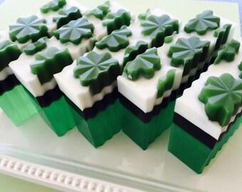 Clover and Aloe glycerin soap - St Patrick's Day Soap - Irish soap - Celtic Soap - Irish Gift - Gift for him, boyfriend, husband, men