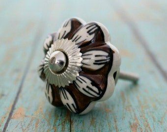 Ceramic Cabinet Knob with Brown & White Pattern